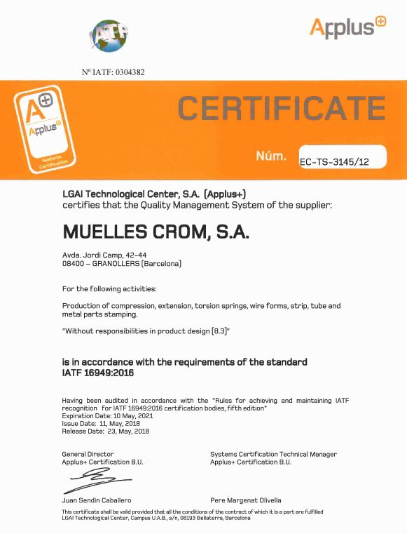 CERTIFICATE ISO TS 16949 MUELLES CROM